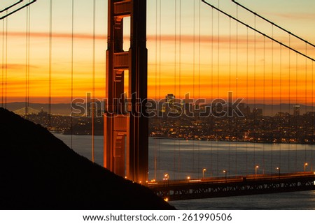 Golden Gate Bridge at Sunrise - stock photo