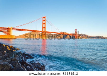 Golden Gate Bridge at sunrise, Sun Francisco - stock photo