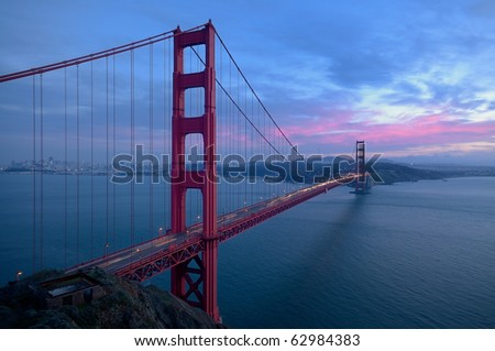 Golden Gate Bridge at sunset from below the observation point (landscape orientation) - stock photo