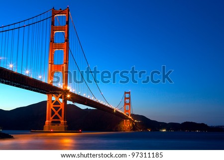 Golden Gate Bridge at sunset, San Francisco, California - stock photo
