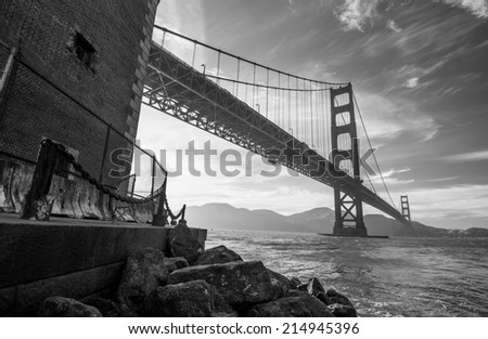 Golden Gate Bridge Black and White - stock photo