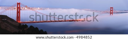 Golden Gate Bridge detailed panorama, with San Francisco in the background - stock photo