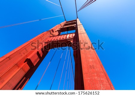 Golden Gate Bridge details in San Francisco California USA - stock photo