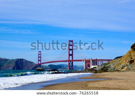 Golden Gate Bridge from Baker Beach, San Francisco, USA - stock photo