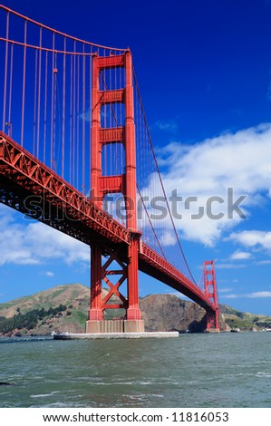 Golden Gate Bridge from Fort Point - Vertical (portrait) orientation - stock photo