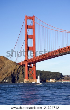 Golden Gate Bridge from the Pacific Ocean with sailboats in the bay