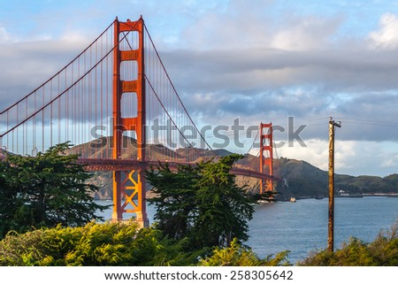 Golden Gate Bridge from the San Francisco side at sunset.  - stock photo
