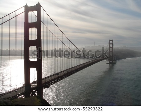 golden gate bridge in clouds