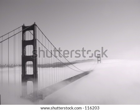 Golden Gate Bridge in fog, San Francisco, California (black and white)