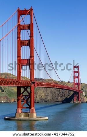 Golden Gate Bridge in San Francisco California from scenic park overlook - stock photo