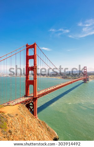 Golden Gate Bridge in San Francisco, California, vertical.