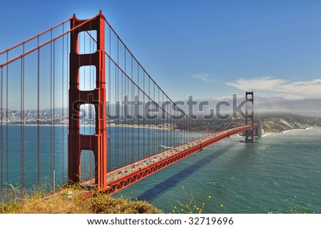 Golden Gate Bridge in San Francisco from overlook on sunny day