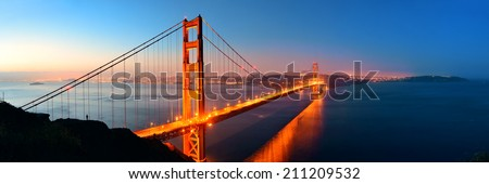 Golden Gate Bridge in San Francisco in early morning - stock photo