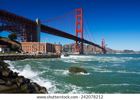 Golden Gate Bridge in San Francisco on sunny day with clear blue sky, California, USA