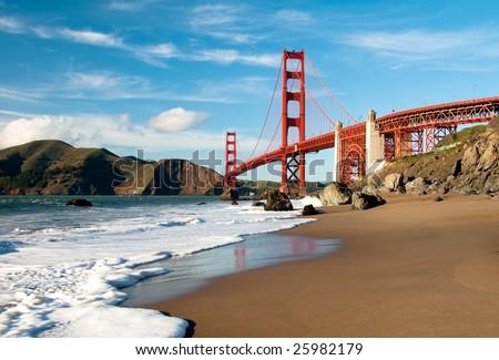 Golden Gate Bridge in San Francisco shot from Marshall Beach. - stock photo