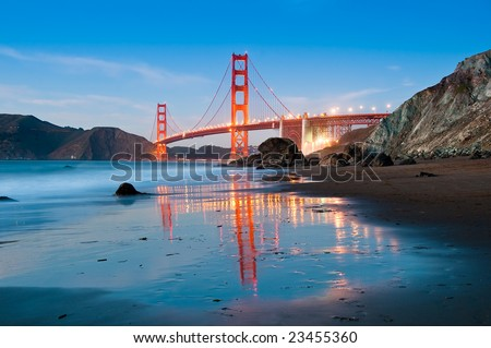 Golden Gate Bridge in San Francisco shot from Marshall Beach at dusk.