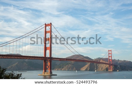 Golden Gate Bridge in wispy skies, USA