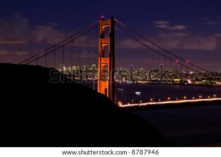 Golden Gate bridge nighttime panoramic taken from Marin County headlands