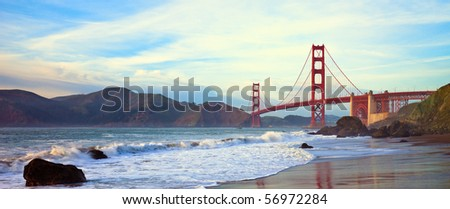 Golden Gate Bridge Panorama Seen from Marshall Beach, San Francisco. - stock photo