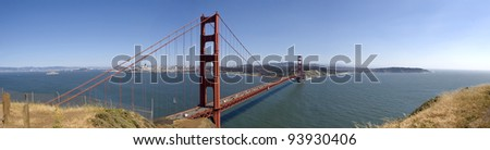 Golden Gate Bridge  panorama, with San Francisco in the background.
