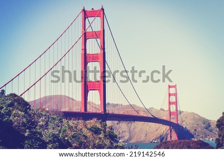 Golden gate bridge San Francisco in retro style