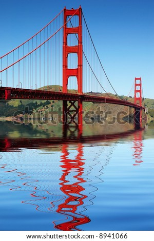 Golden Gate bridge San Francisco reflected in the beautiful still harbor on a perfect day