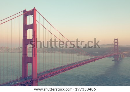 Golden Gate Bridge, San Francisco, USA. Vintage style