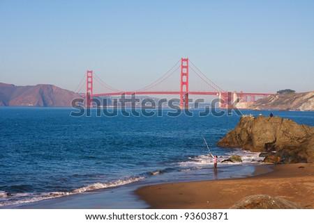 Golden Gate Bridge seen from China Beach in San Francisco - stock photo