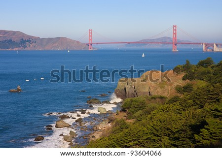 Golden Gate Bridge seen from Coastal Trail in San Francisco - stock photo