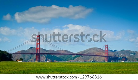 Golden Gate bridge seen from Crissy Field, San Francisco - stock photo