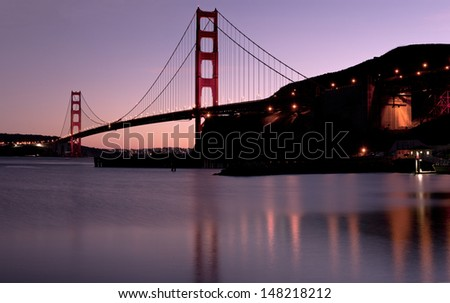 Golden Gate Bridge Sunset Panoramic - stock photo