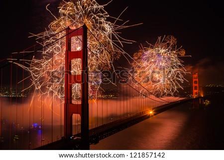 golden gate bridge 75th anniversary fireworks - stock photo