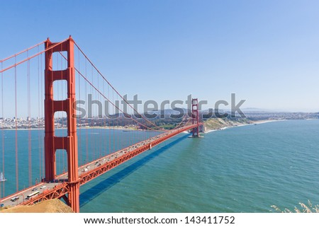 Golden Gate Bridge  with San Francisco in the background.