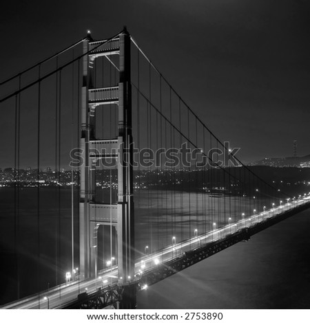 Golden Gate by night from Marin Headlands, San Francisco, California - stock photo