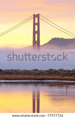 Golden Gate in at sunset and twilight time. San Francisco, USA