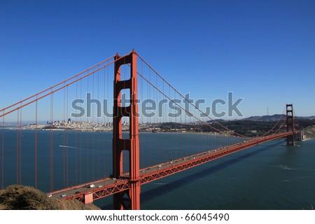 GOLDEN GATE NATIONAL RECREATION AREA, CALIFORNIA - SEPTEMBER 1, 2010: Golden Gate Bridge taken from Battery Spencer overlook in Marin County near Sausalito on September 1, 2010. - stock photo