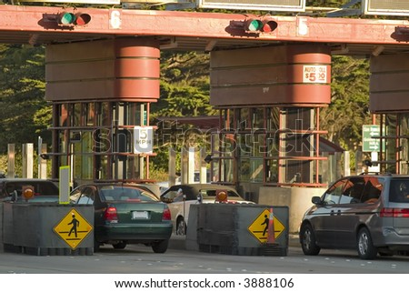 Golden Gate Toll Road Close up San Francisco California - stock photo