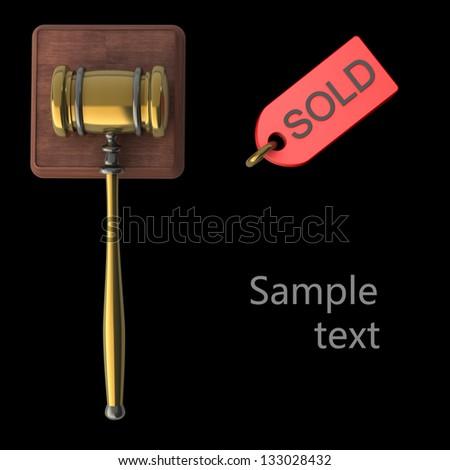 Golden gavel isolated on black backround 3d render - stock photo