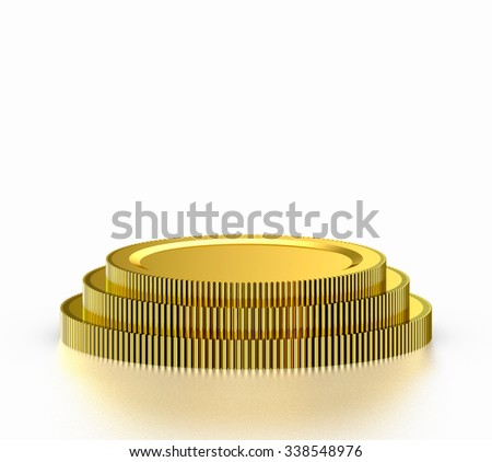 Golden gear podium on white background - stock photo