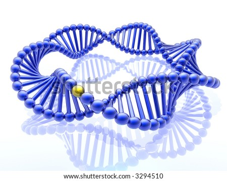 Golden gene in DNA - stock photo