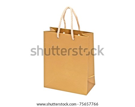 Golden gift bag isolated on white background.