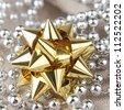golden gift bow - stock photo