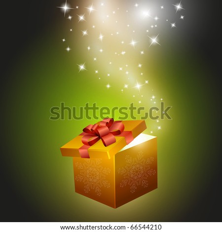 Golden gift box abstract background