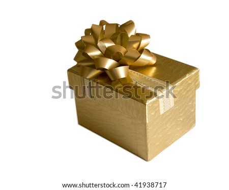 Golden gift box with bow isolated on white