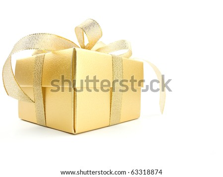 Golden gift box with golden ribbon - stock photo