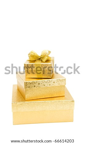 Golden gift box with golden ribbon