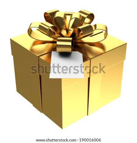 Golden gift box with paper card, Isolated on white - stock photo