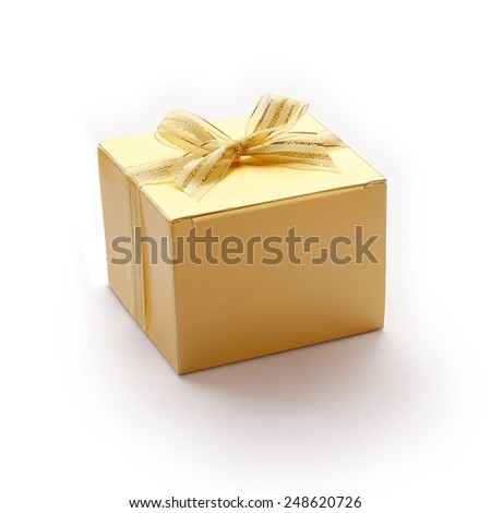 Golden Gift Boxes are on White Background. - stock photo