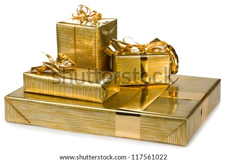 golden gift boxes with gold ribbon isolated on white background - stock photo