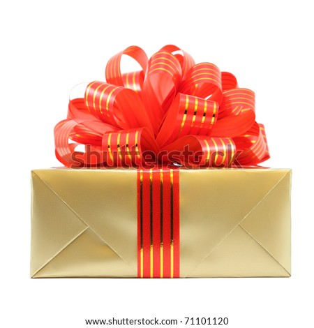 Golden gift wrapped present with red striped bow isolated on white - stock photo